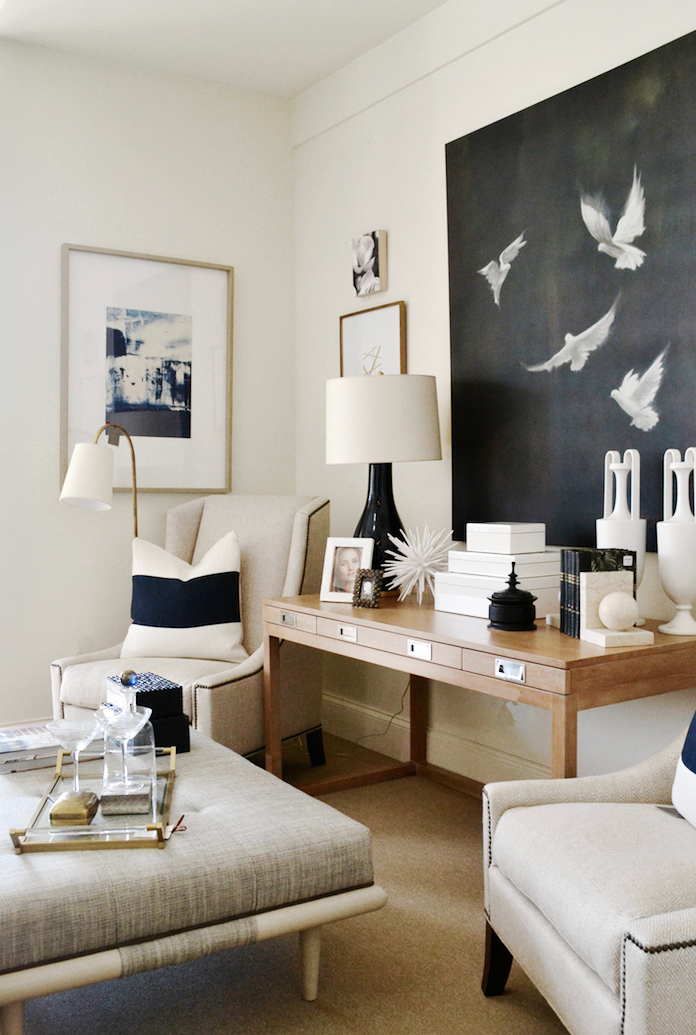 A chic, contemporary neutral sitting area designed by Summerhouse gets recreated for less by @copycatchic | budget home decor and design for less