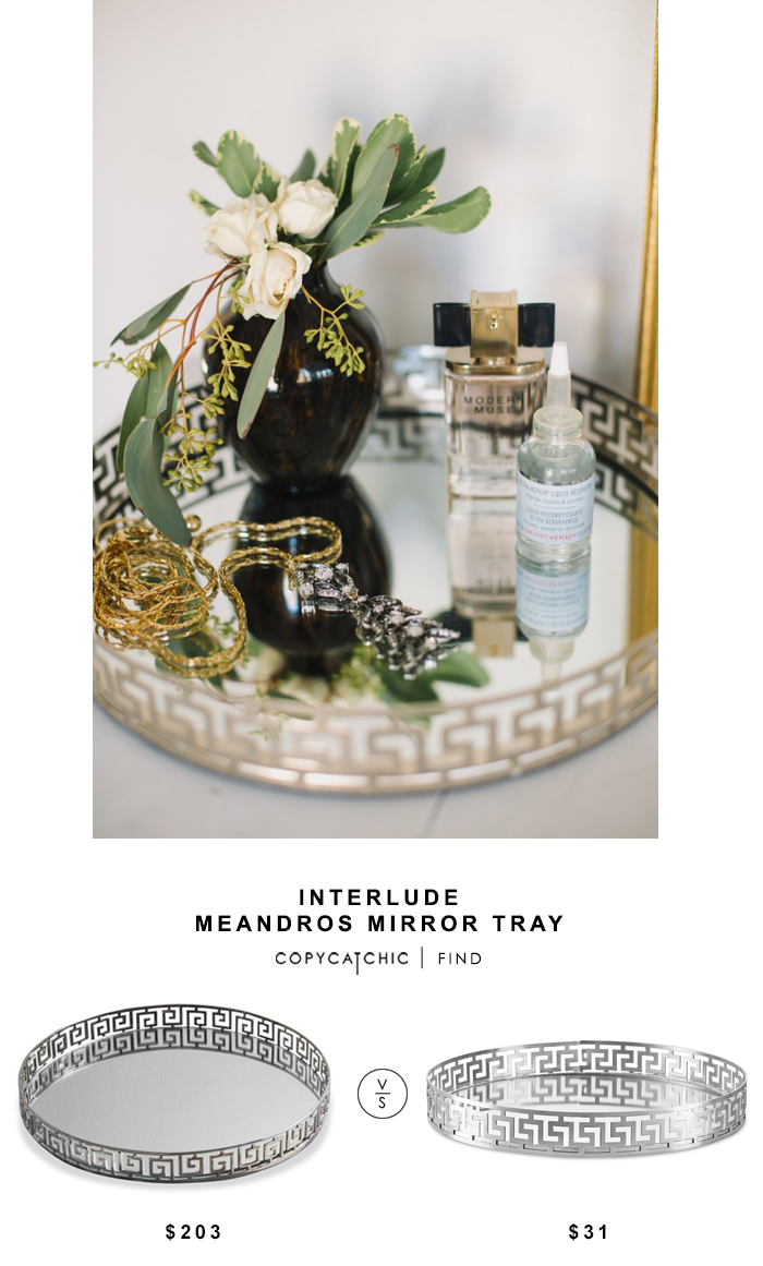 Interlude Meandros Mirror Tray for $203 vs Overstock Greek Key Mirrored Tray for $31 @copycatchic look for less chic find budget home decor and design