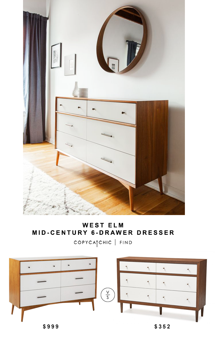 West Elm Mid-Century Dresser for $999 vs Baxton Harlow Dresser for $352 @copycatchic look for less budget home decor and design chic find