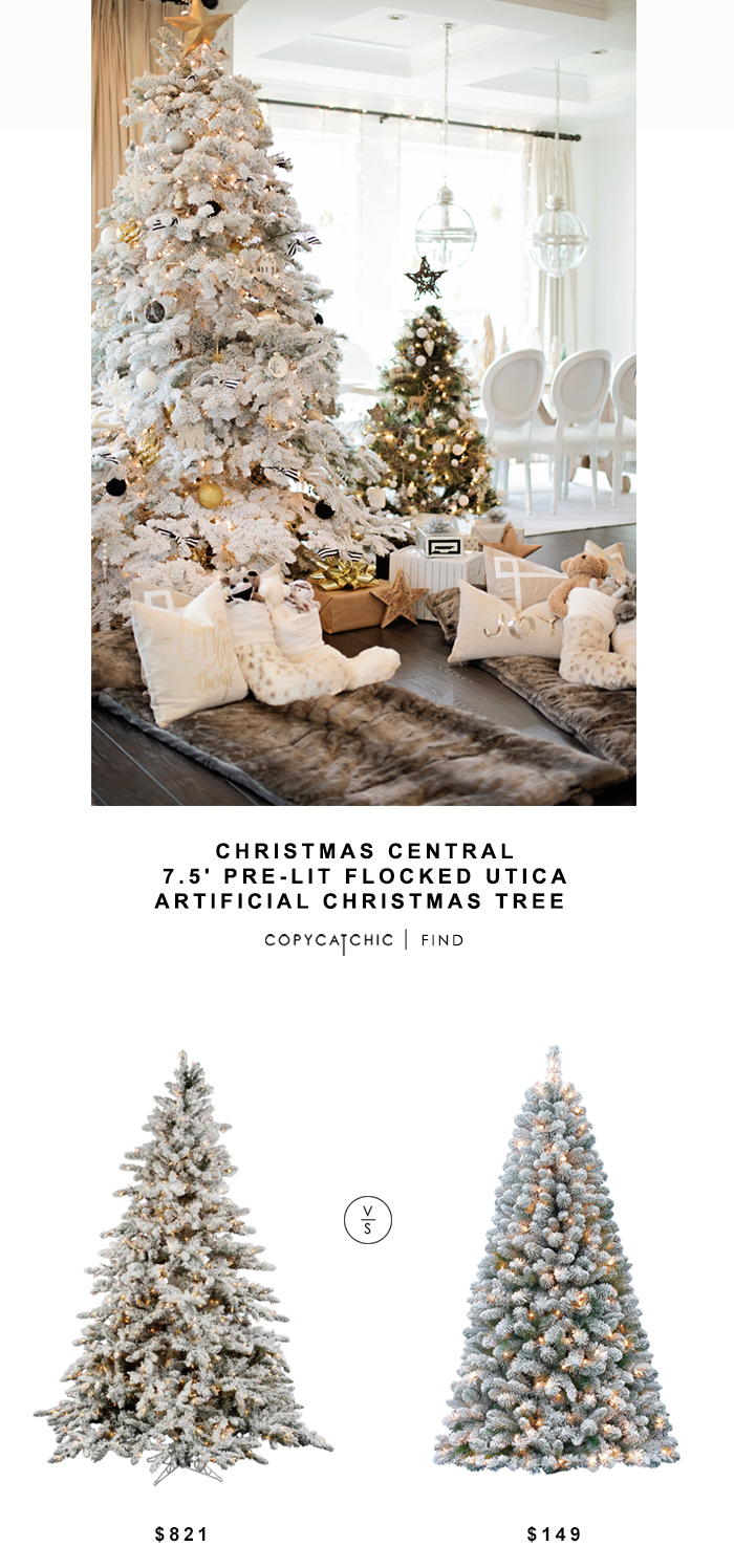 Christmas Central Pre-Lit Flocked Artificial Christmas Tree for $821 vs Holiday Time Pre-Lit Green Flocked Birmingham Fir Artificial Christmas Tree for $149 Copy Cat Chic Luxe Living for Less Budget home decor and design look for less