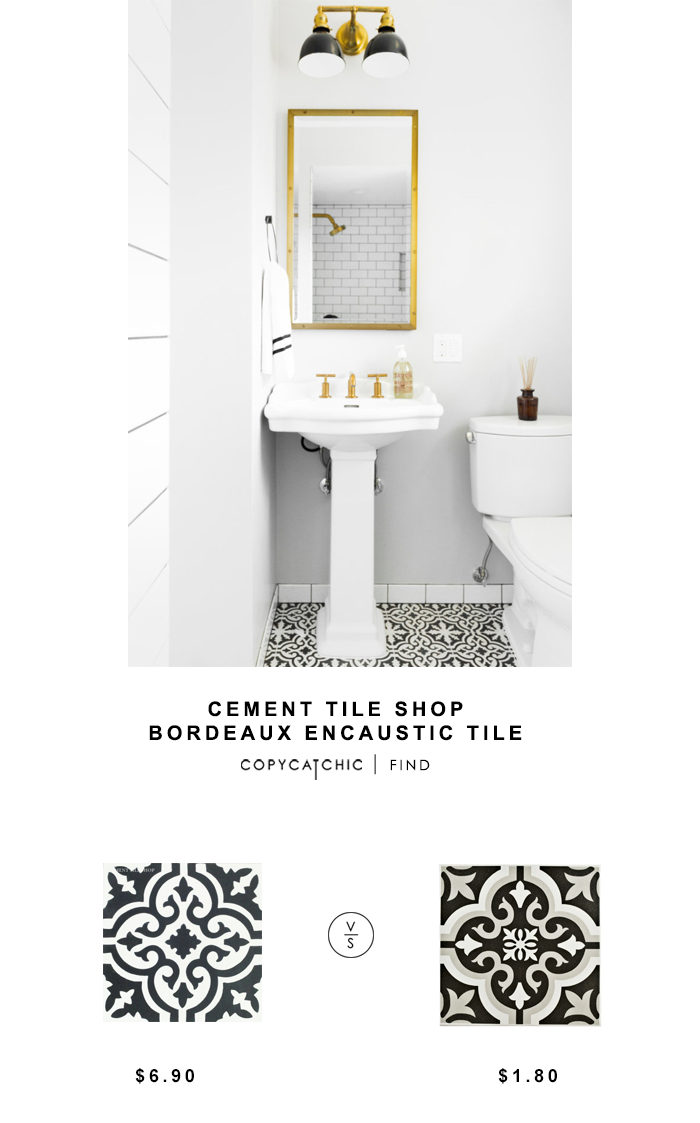Cement Tile Shop Bordeaux Encaustic Tile for $6.90 vs Somertime Cavado Classic Tile for $1.80 Copy Cat Chic luxe living for less budget home look for less
