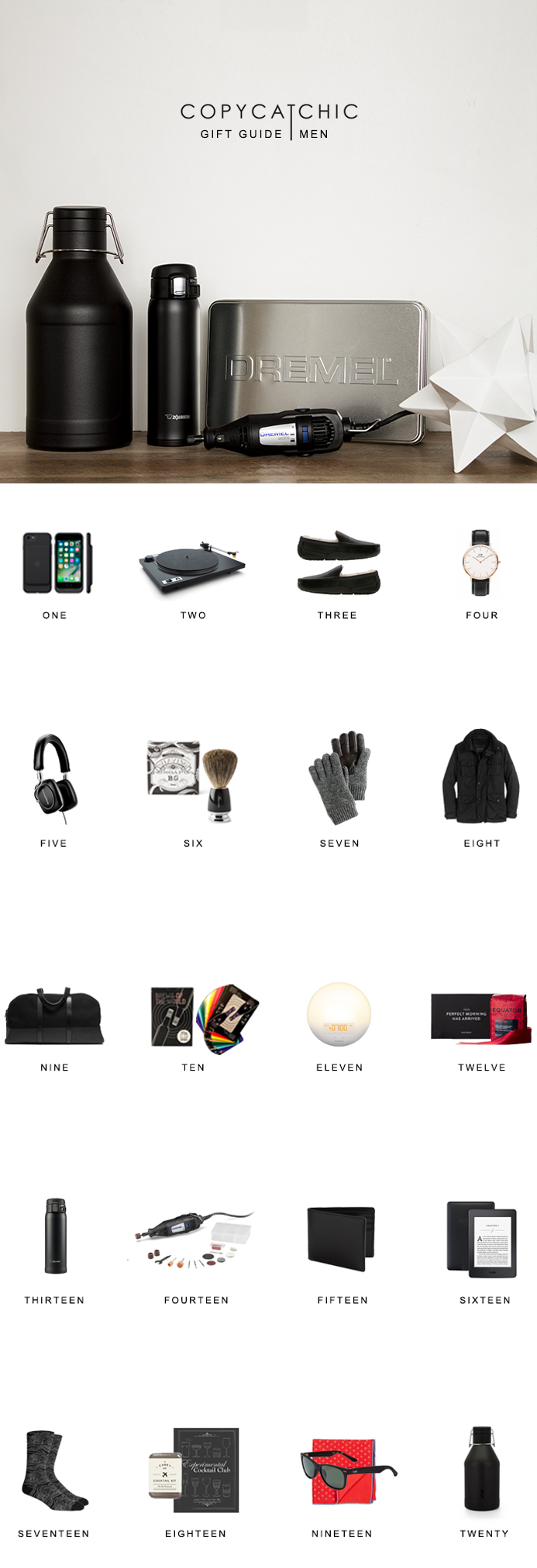 Modern minimalist gifts and accessories for men. Christmas gift guide | Copy Cat Chic hipster favorites for the 2016 holiday season! | Luxe living for less {permalink}