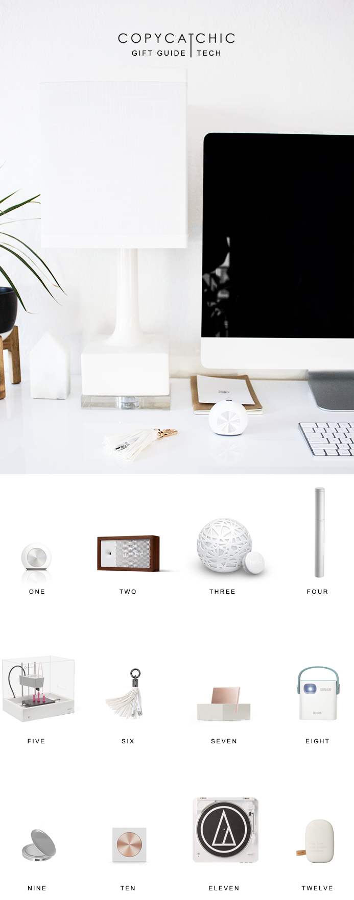 Modern minimalist tech for design lovers. Perfect Christmas gifts | Copy Cat Chic techie favorites for the 2016 holiday season! | Luxe living for less