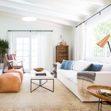 This bohemian modern living room featured by Homepolish gets recreated for less by @copycatchic room redo luxe living for less budget home decor design