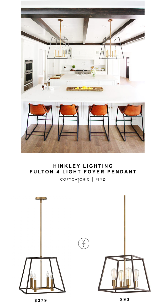 Hinkley Lighting Fulton 4 Light Foyer Pendant for $379 vs Home Depot Retro 4 Light Antique Brass with Dark Bronze Pendant for $90 copycatchic look for less