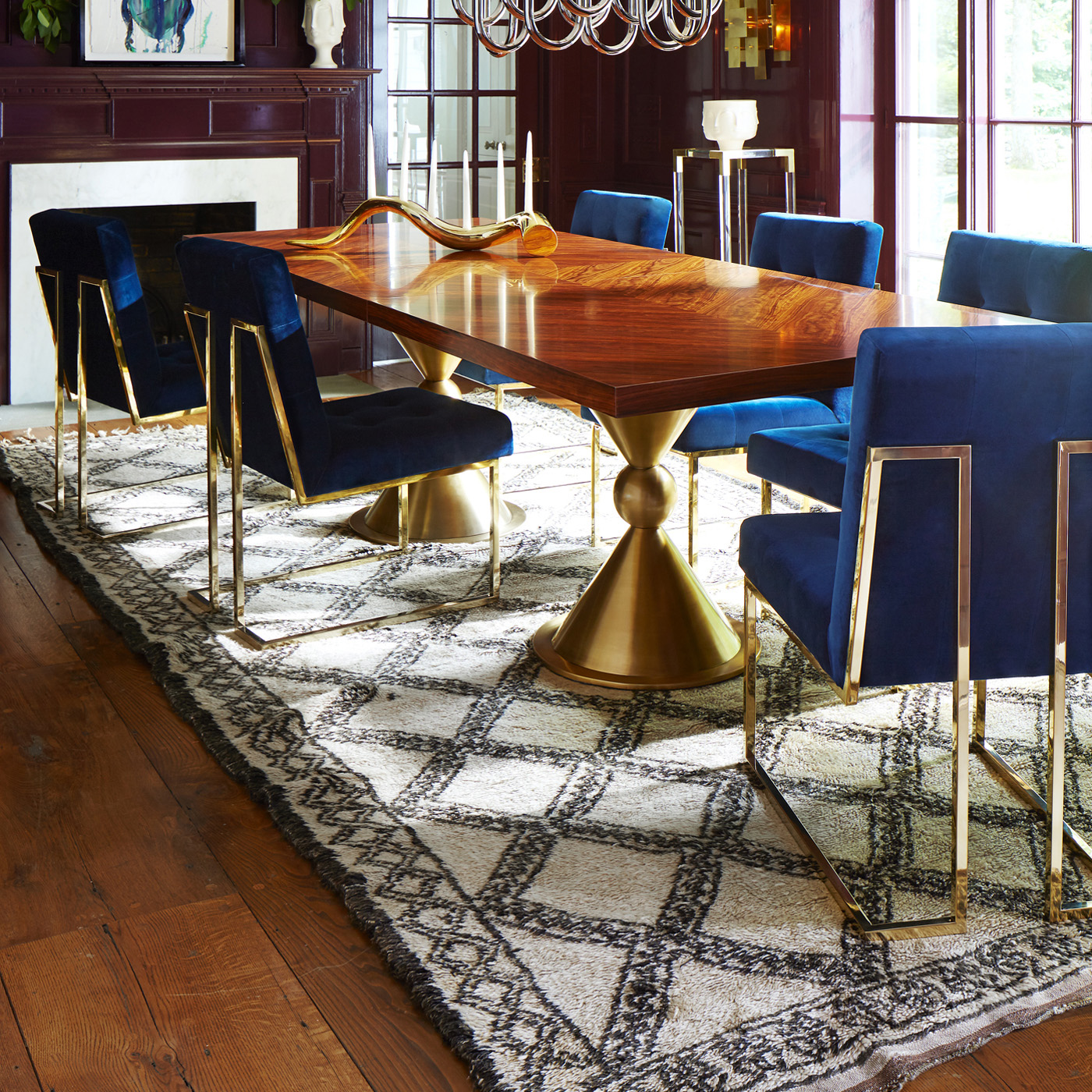 Jonathan Adler Goldfinger Dining Chair For $1,250 Vs Overstock Haute Navy  Velvet Chair For $296 @copycatchic Look For Less Budget Home Decor Design