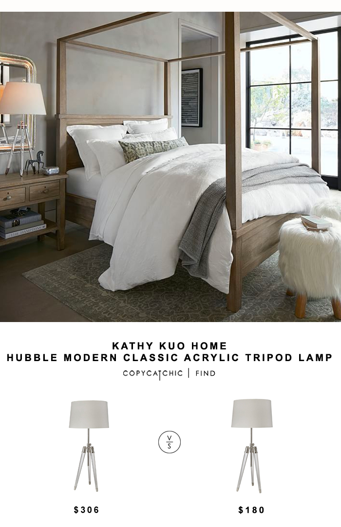 Kathy Kuo Home Hubble Modern Classic Acrylic Tripod Lamp for $306 vs Pottery Barn Acrylic Tripod Table Lamp for $180 Copy Cat Chic look for less budget home