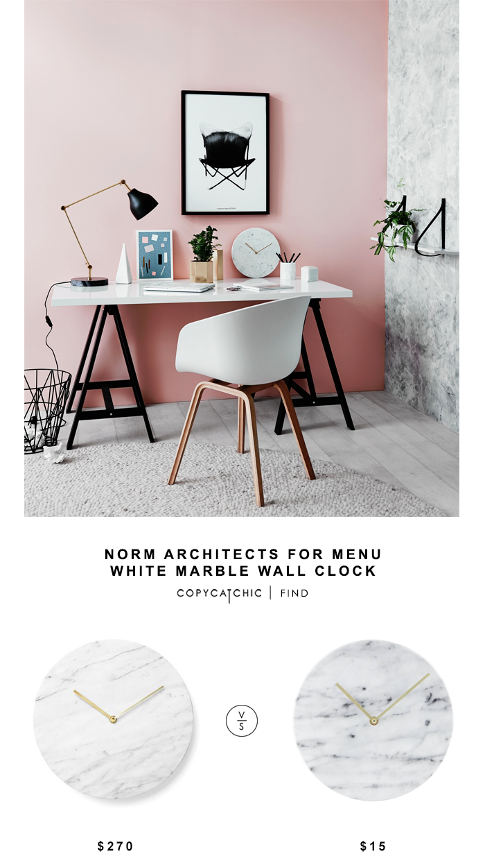 Norm Architects for Menu White Marble Clock for $270 vs Target Faux Marble Wall Clock for $15 Copy Cat Chic look for less budget home decor and design