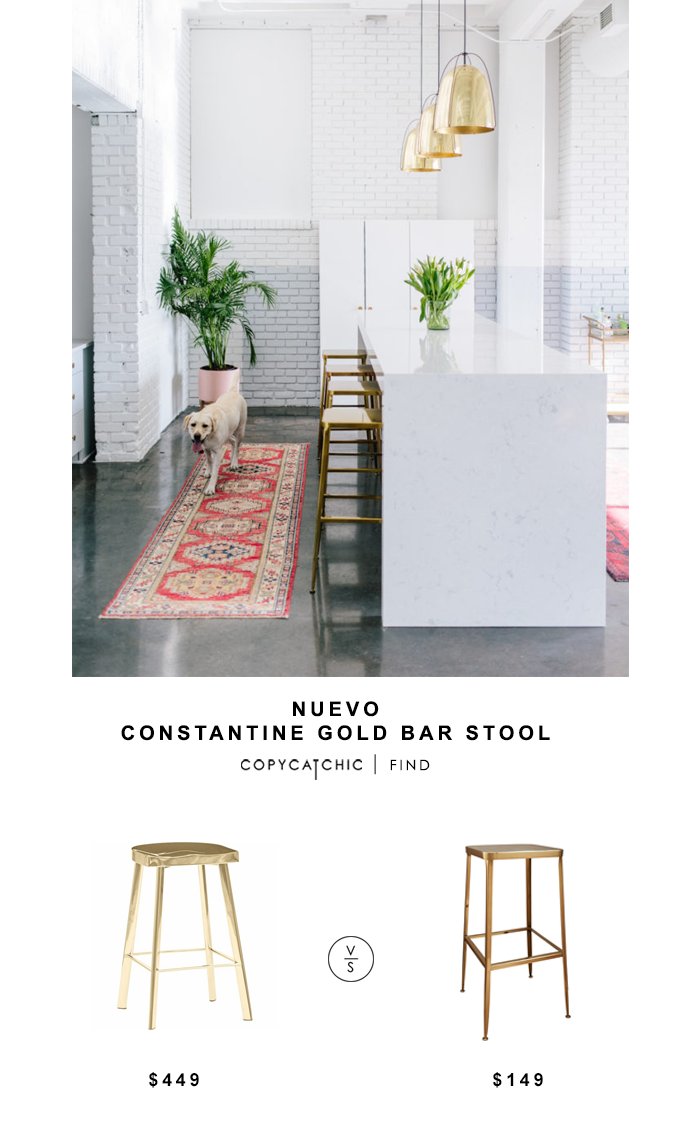 Nuevo Constantine Gold Bar Stool For $449 Vs CB2 Flint Gold Bar Stool For  $149 Copy Cat Chic Luxe Living For Less Budget Home Decor And Design  Lookforless