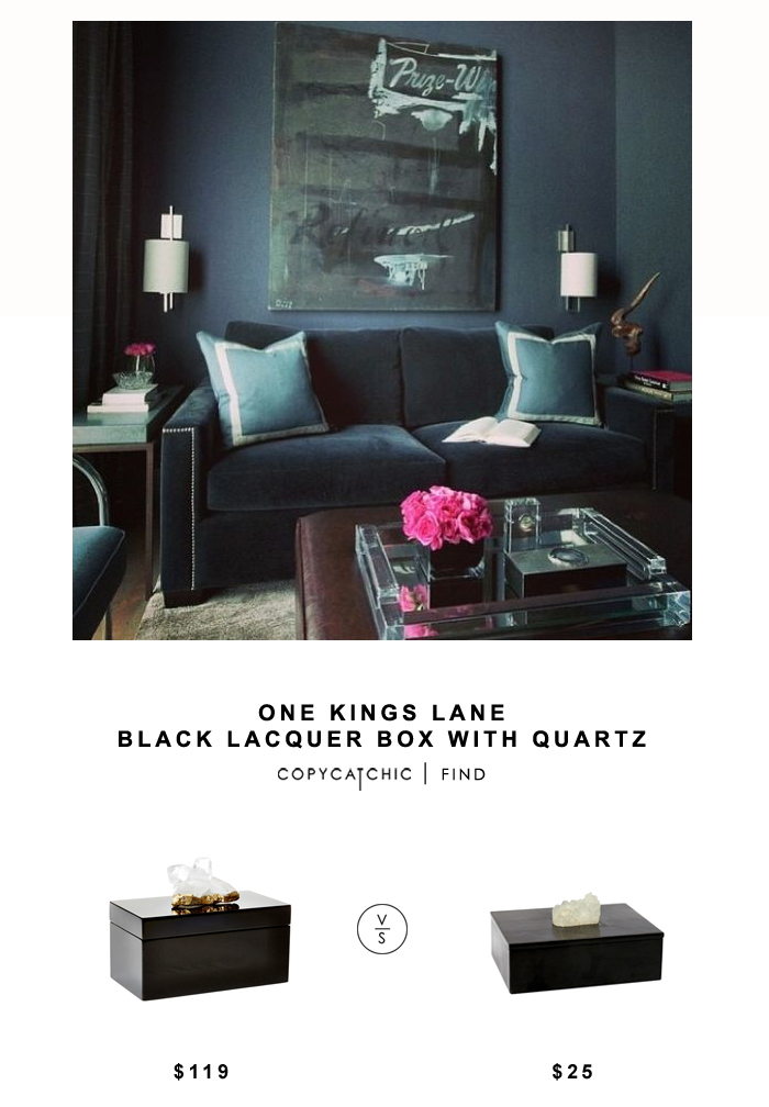 One Kings Lane Black Lacquer Box with Quartz for $119 vs Threshold Decorative Box with Agate for $25 Copy Cat Chic look for less budget home decor & design