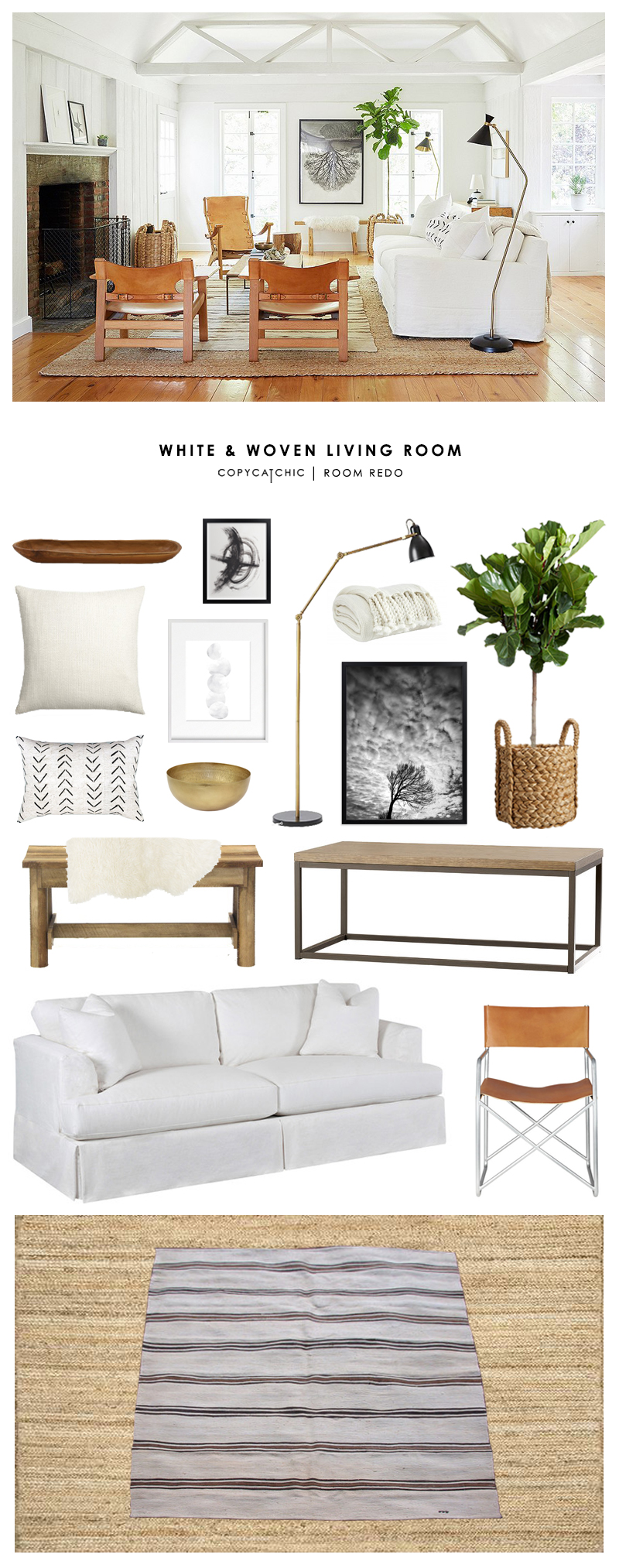 Jenni Kayne's white, woven living room recreated for less by Copy Cat Chic luxe living for less budget home decor and design room redos looks for less