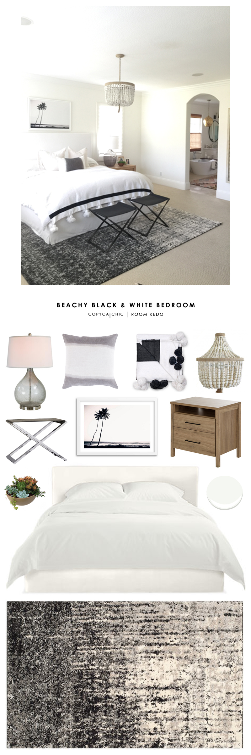 This beachy black and white bedroom by Becki Owens gets recreated for less by Copy Cat Chic luxe living for less budget home decor and design