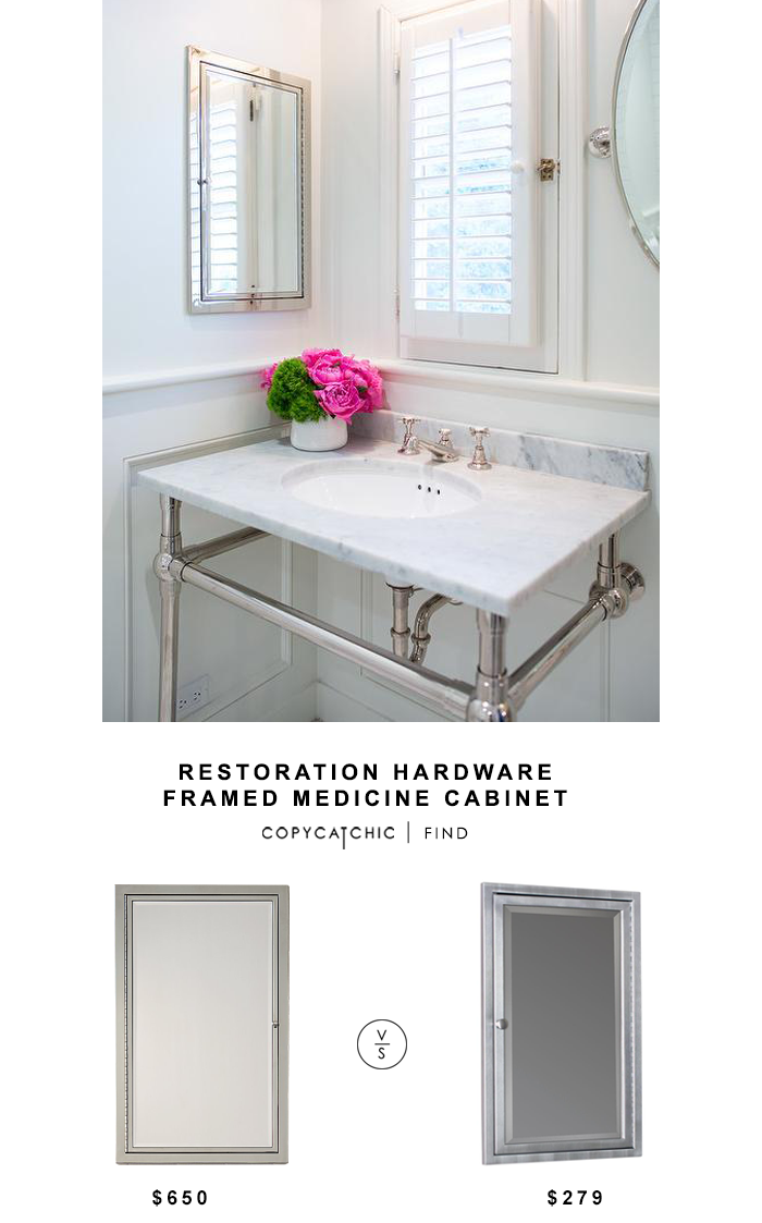 Restoration Hardware Framed Inset Medicine Cabinet for $650 vs Home Depot Deco Mirror Recessed Medicine Cabinet for $279 Copy Cat Chic luxe living for less