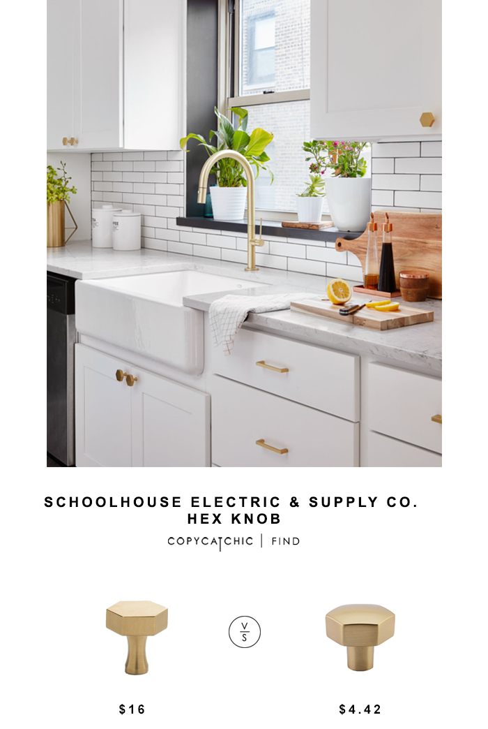 Schoolhouse Electric & Supply Co. Hex Knob for $16 vs Emtek Mod Hex Knob for $4.42 Copy Cat Chic luxe living for less budget home decor design look for less