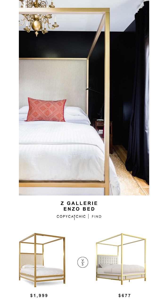 Z Gallerie Enzo Bed for $1,999 vs Inspire Q Solvita Canopy Bold Bed for $677 Copy Cat Chic luxe living for less budget home decor & design look for less