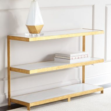 Neiman Marcus Arteriors Seymore Gold Console for $2,200 vs Overstock LS Dimond Home Gold Leaf Console for $998 Copy Cat Chic luxe living for less budget