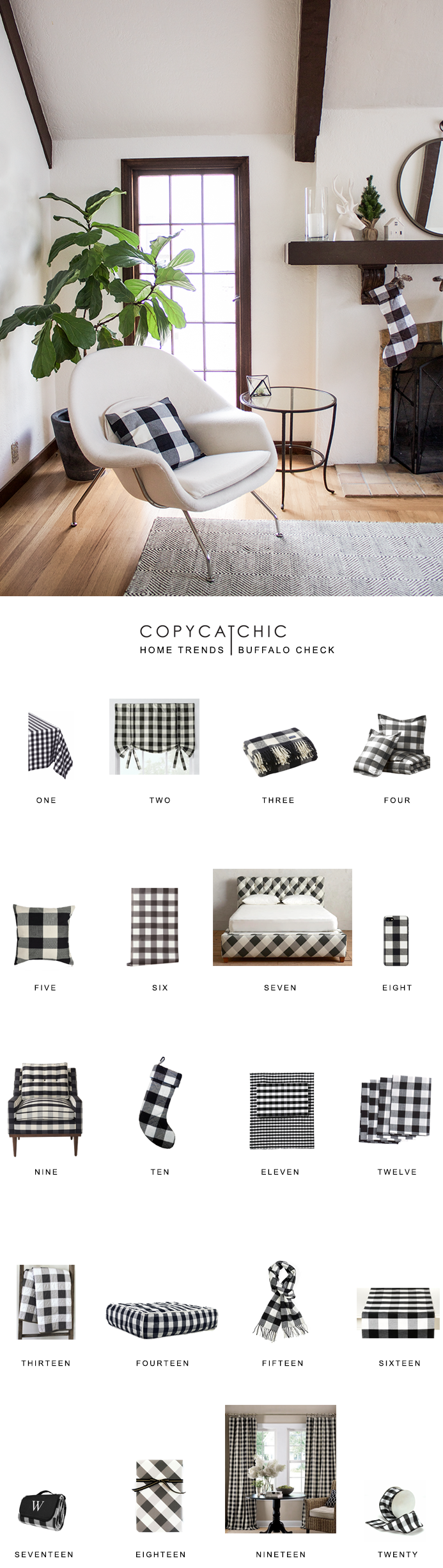 Our favorite buffalo check home decor trending right now. Black and white plaid is classic and always in style. @copycatchic luxe living for less.