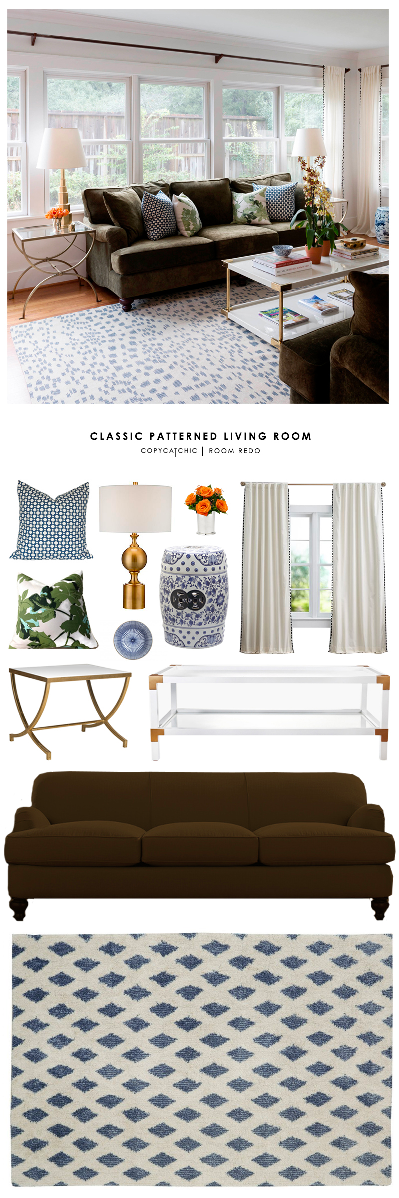 This classic and patterned living room designed by Paloma Contreras gets recreated for less by Copy Cat Chic luxe living for less budget home decor & design