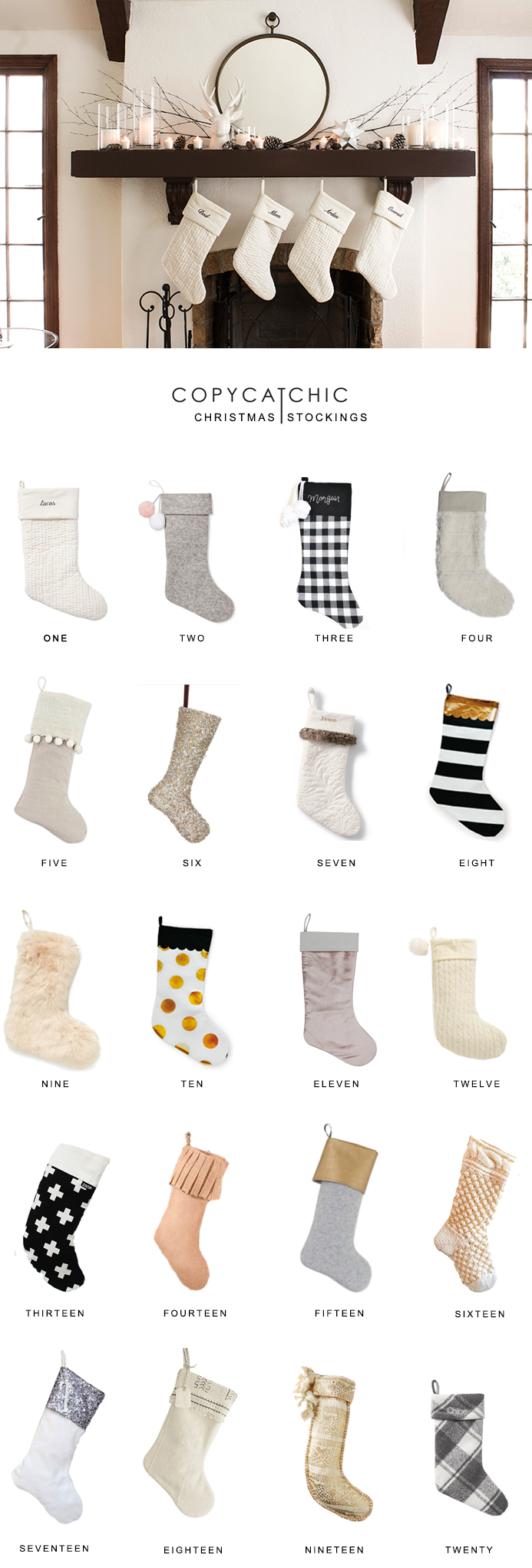 Home Trends favorite non-traditional hipster modern Christmas stockings this holiday season! Copy Cat Chic luxe living for less budget home decor & design