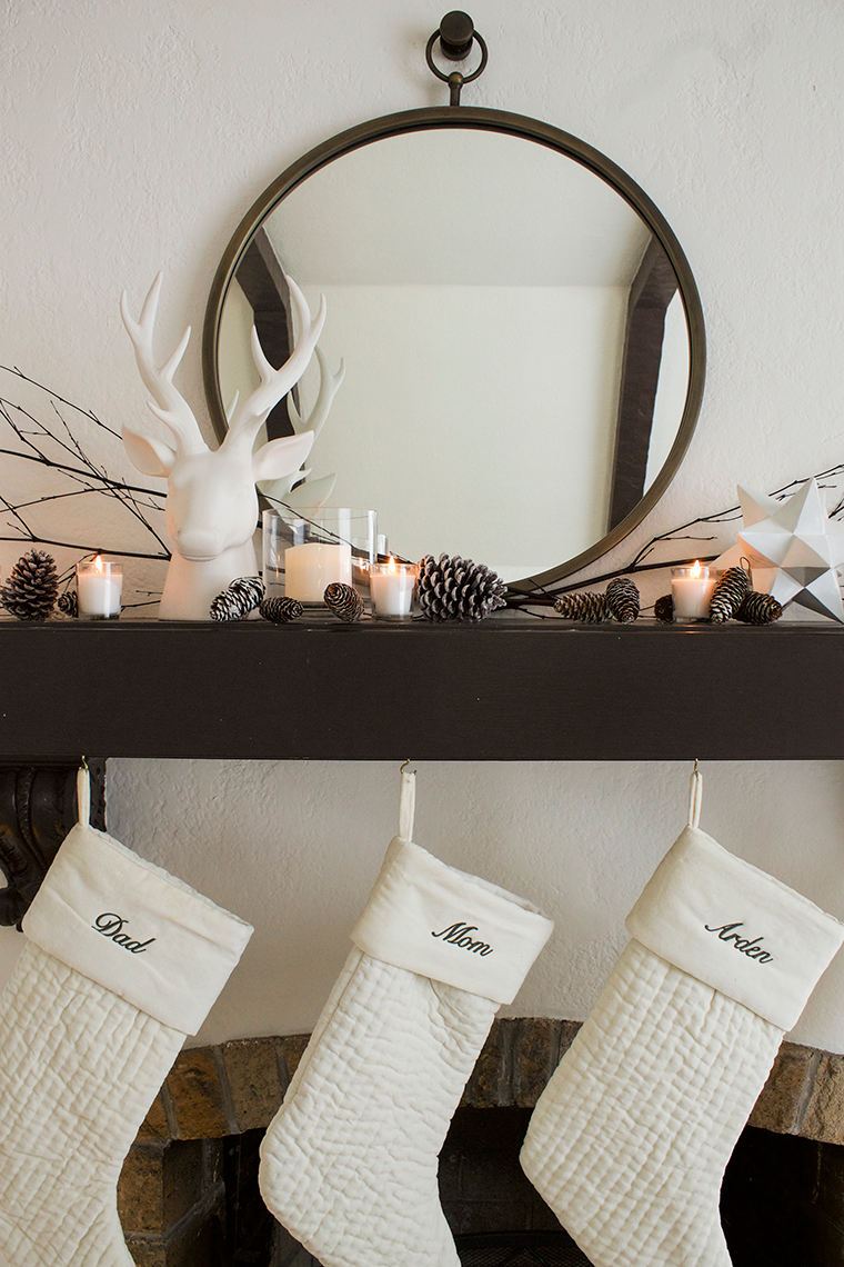Decorating your mantle for Christmas for less than $50 with @WorldMarket and @CopyCatChic | Luxe living for less budget home holiday decor and design