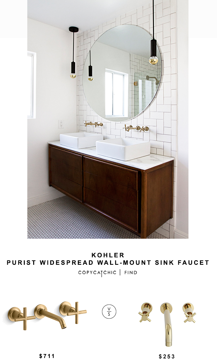 Kohler Purist Widespread Wall-Mount Sink Faucet for $711 vs Elements of Design Polished Brass Faucet for $253 Copy Cat Chic luxe living for less budget home