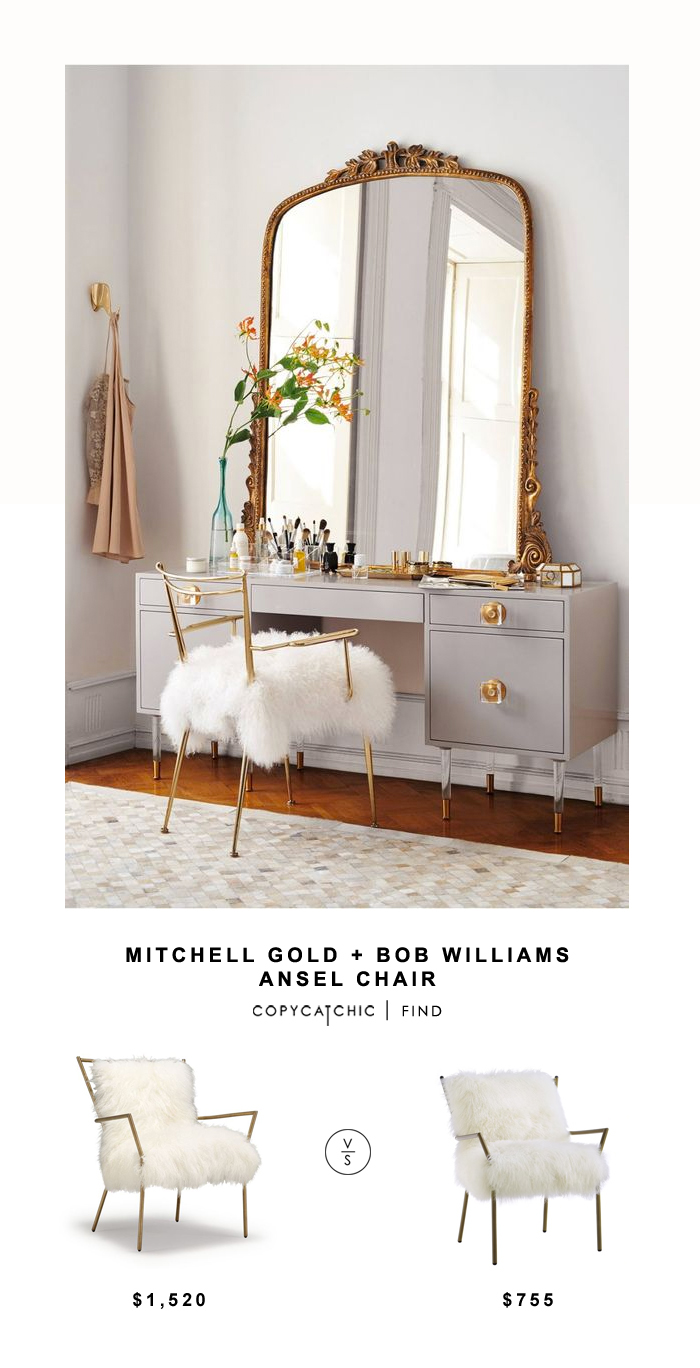 Mitchell Gold + Bob Williams Ansel Chair for $1520 vs Overstock Lena Sheepskin Chair for $755 Copy Cat Chic luxe living for less budget home decor & design
