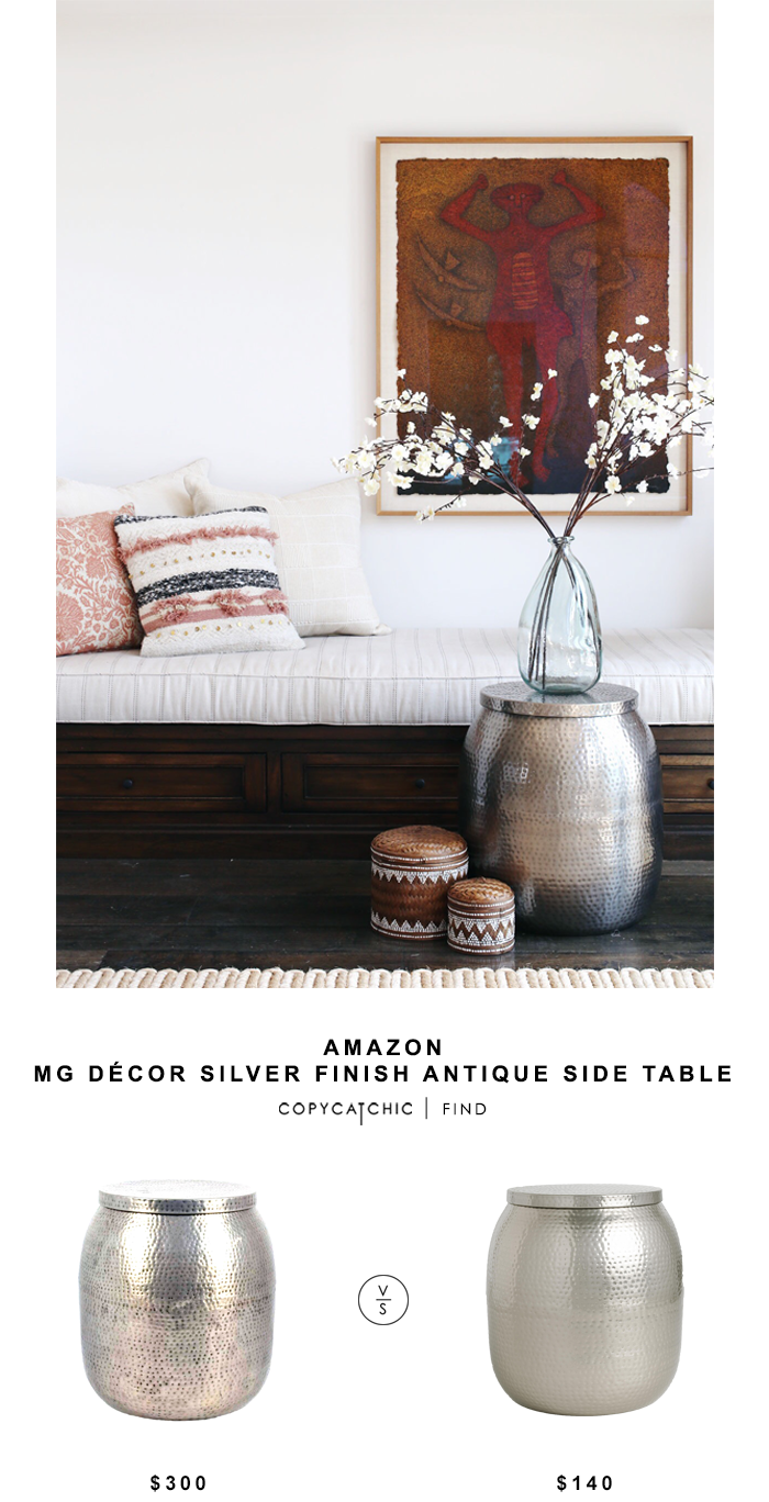 MG Decor Silver Finish Antique Side Table for $300 vs World Market Cala Hammered Drum Table for $140 Copy Cat Chic luxe living for less budget home decor
