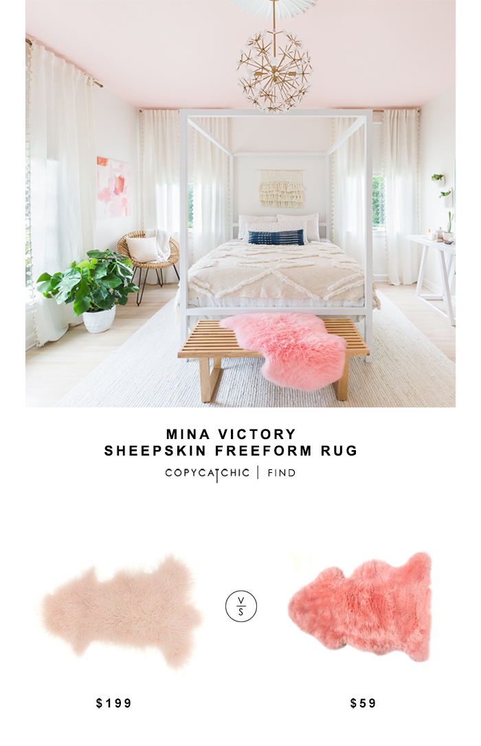Mina Victory Sheepskin Freeform Rug for $199 vs Lambland Pink Sheepskin Rug for $59 Copy Cat Chic luxe living for less budget home decor and design
