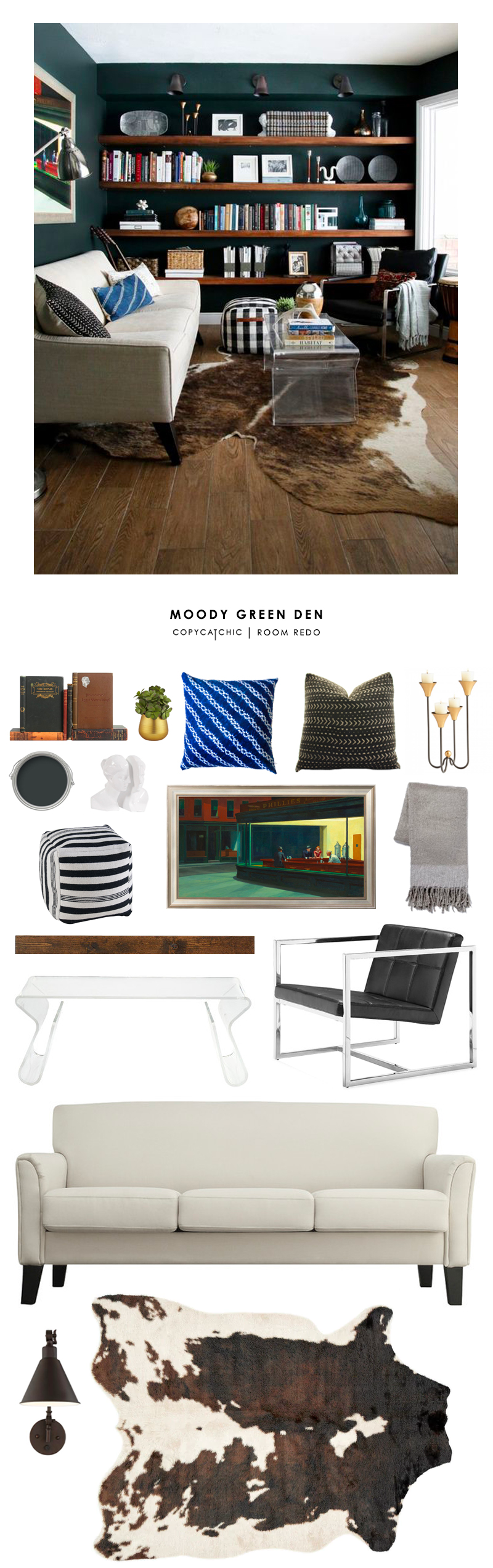 A moody cozy den by Chris Loves Julia gets recreated for less by Copy Cat Chic. Luxe living for less budget home decor and design for less
