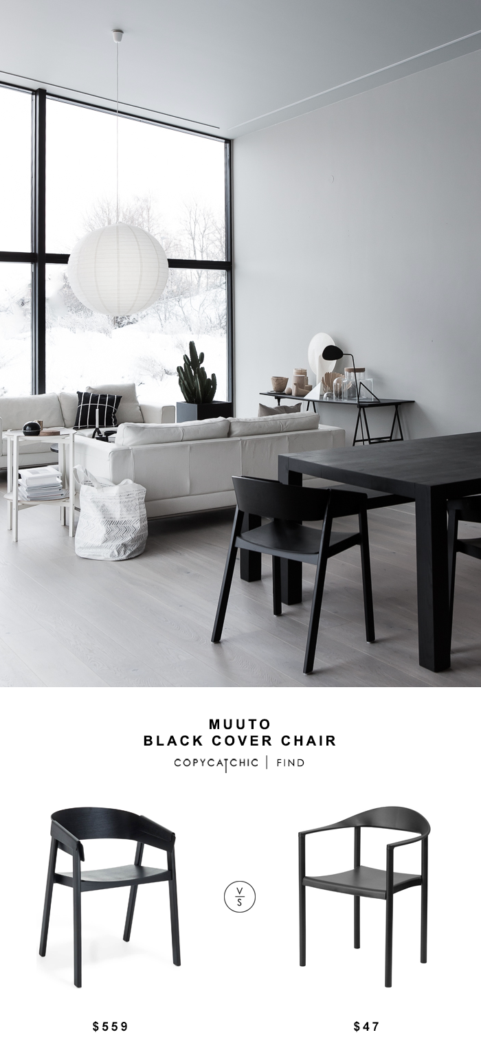 Muuto Black Cover Chair for $559 vs Joss & Main Tomas Arm Chair for $43 Copy Cat Chic luxe living for less budget home decor and design look for less
