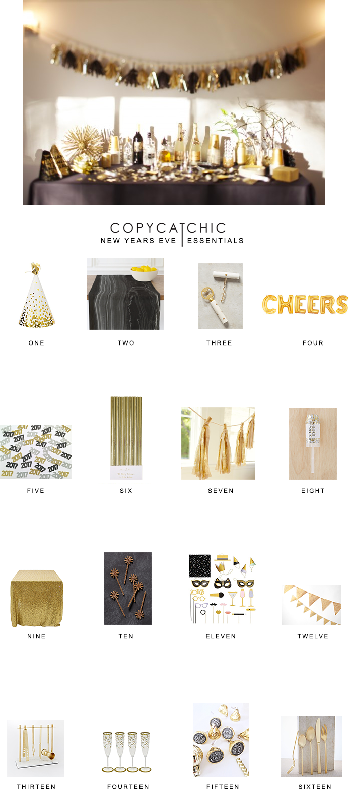 Our favorite black and gold New Years Eve party essentials from Copy Cat Chic luxe living for less budget home decor and design