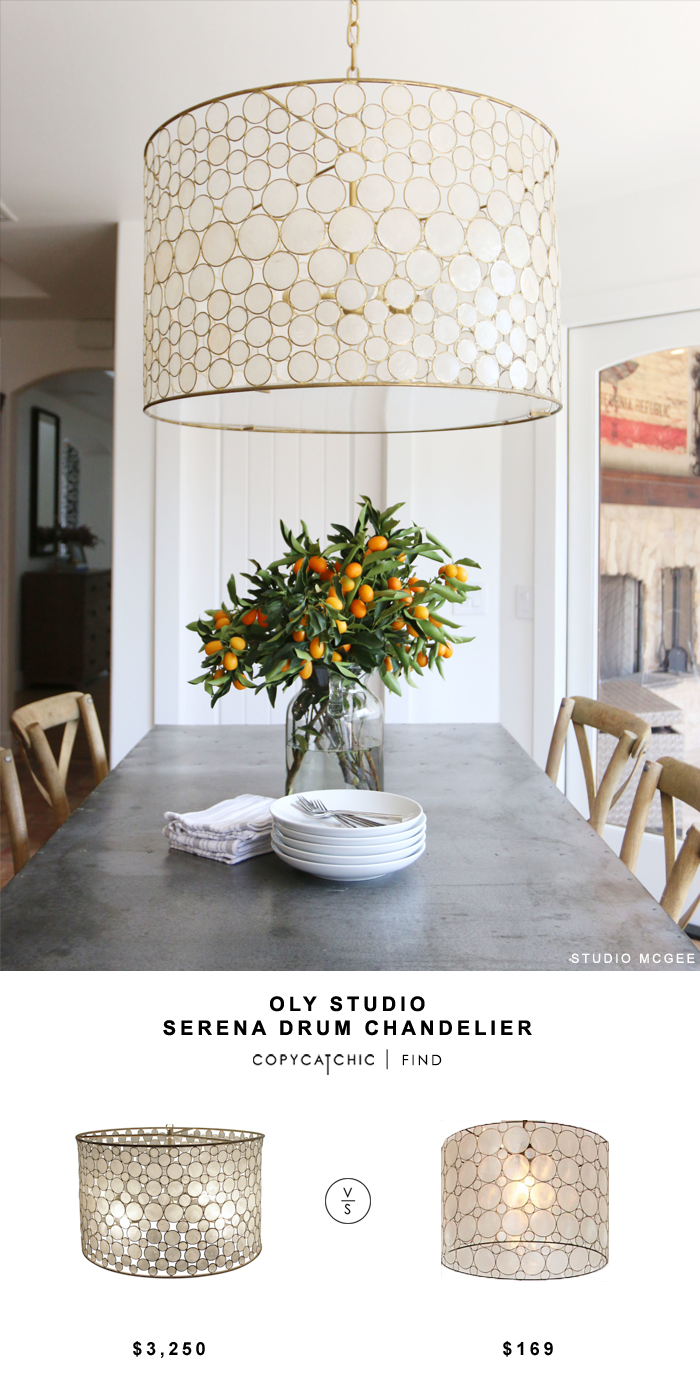 Oly Studio Serena Drum Chandelier for $3,250 vs Pottery Barn Teen Piper Capiz Hanging Pendant for $169 Copy Cat Chic luxe living for less budget home decor