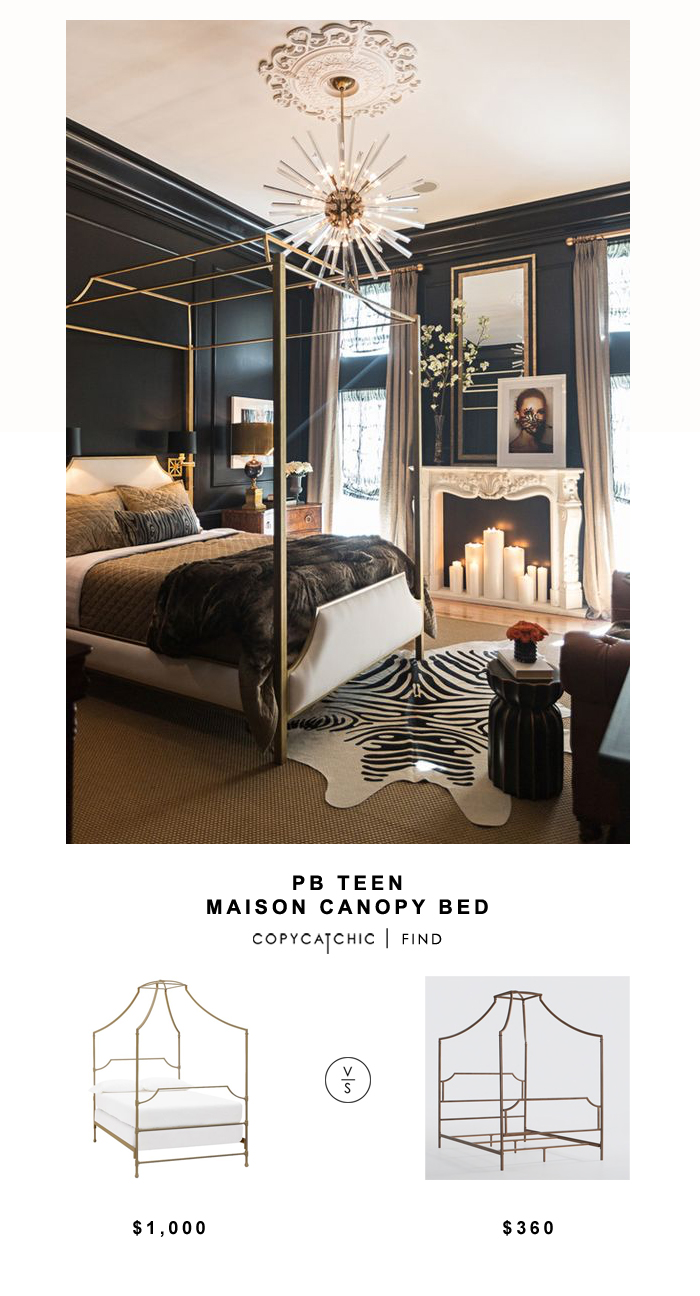 Pottery Barn Teen Maison Canopy Bed for $899 vs Overstock Bailey Brushed Copper Canopy Bed for $360 Copy Cat Chic luxe living for less budget home decor