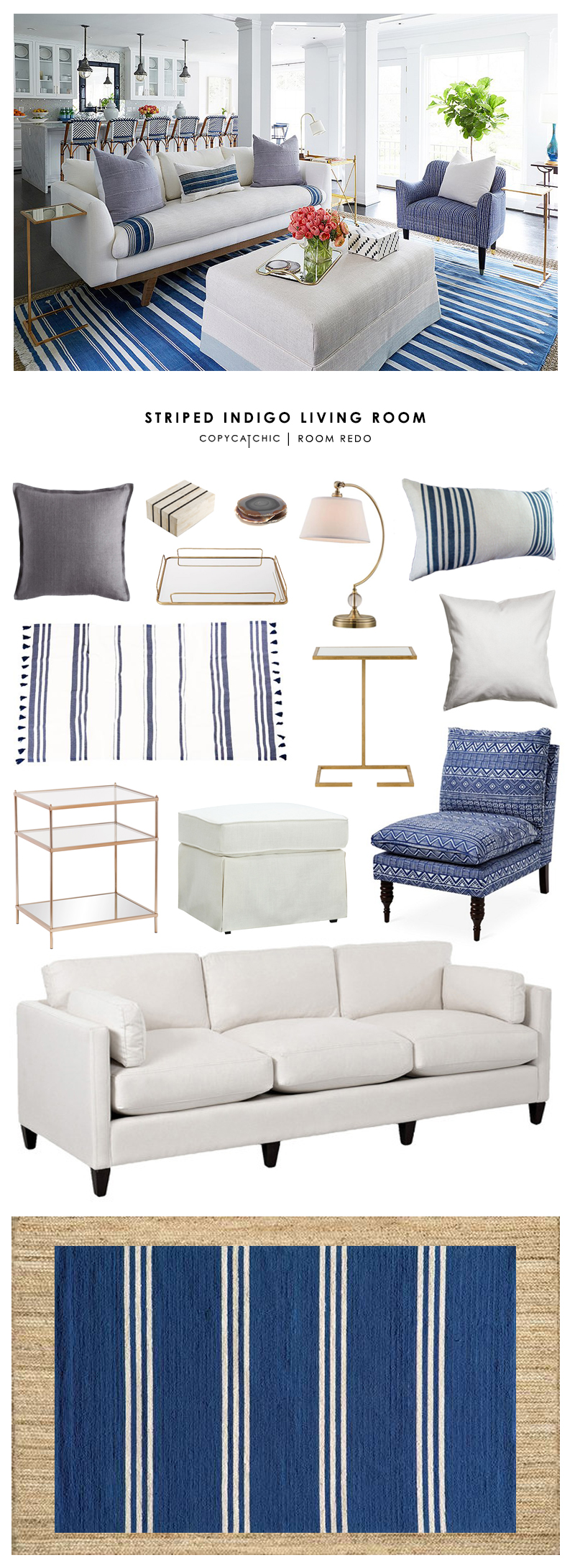 This beachy california striped indigo living room by One Kings Lane gets recreated for less by Copy Cat Chic luxe living for less budget home decor & design
