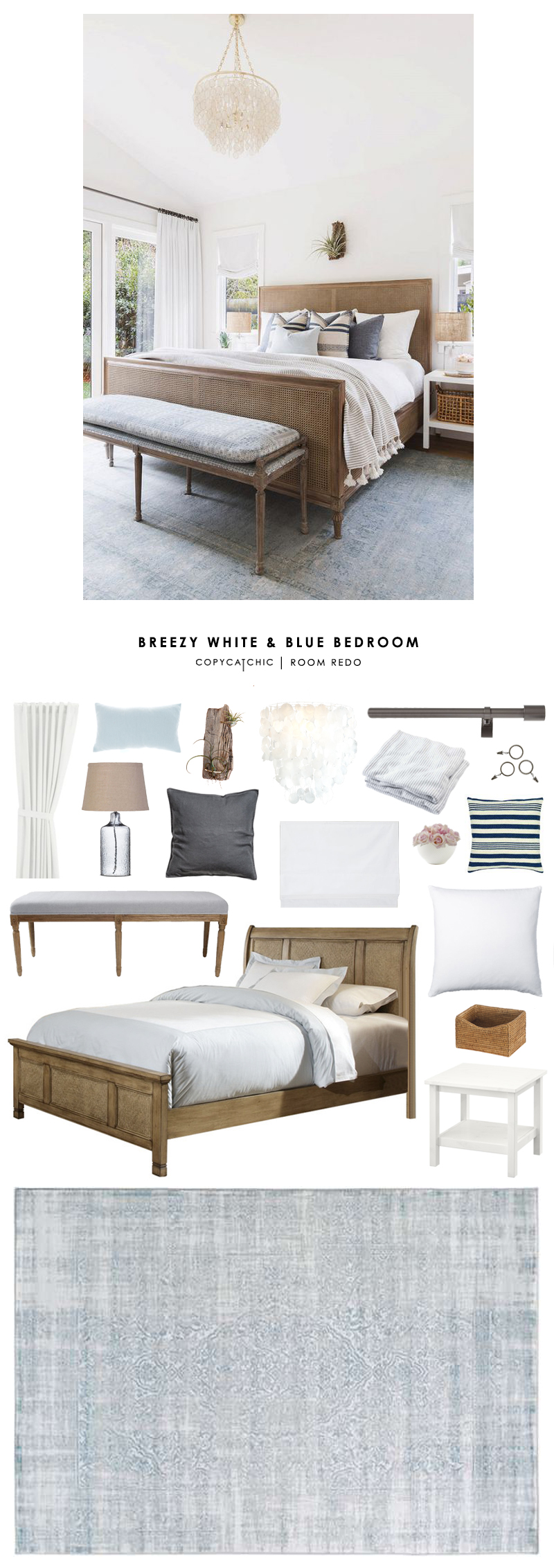 copy cat chic room redo breezy white and blue bedroom copycatchic. Black Bedroom Furniture Sets. Home Design Ideas