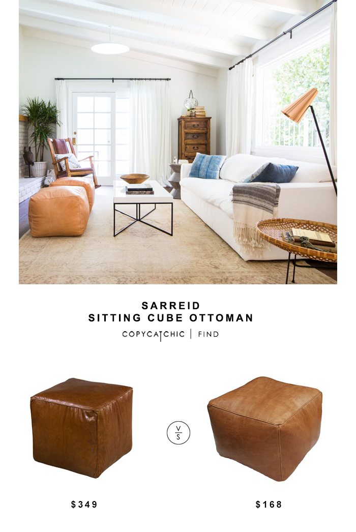 Sarried Leather Sitting Cube Ottoman for $349 vs Minda Home Cube for $168 Copy Cat Chic luxe living for less budget home decor and design look for less
