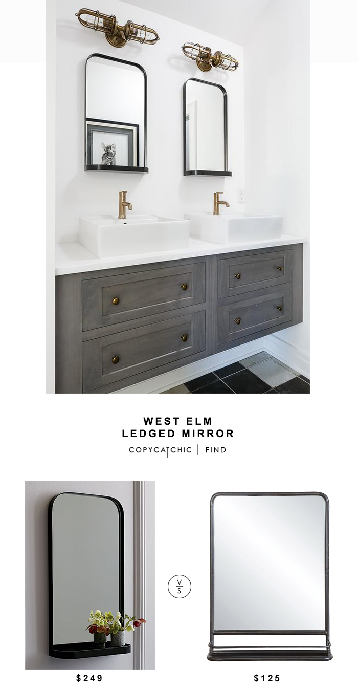 West Elm Ledged Mirror for $249 vs Creative Co-Op Metal Mirror with Shelf $125 copycatchic luxe living for less budget home decor and design look for less