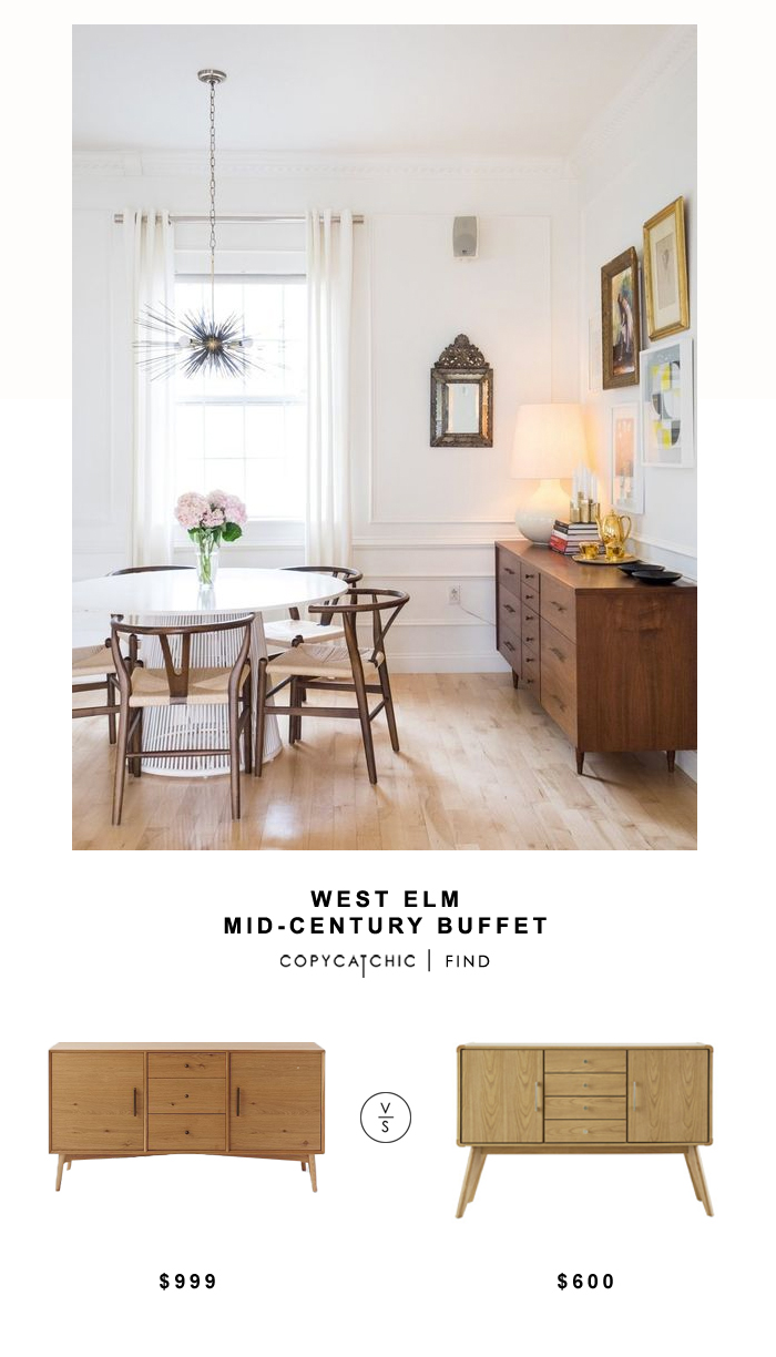 West Elm Mid-Century Buffet for $999 vs Largely Street Garvey Server for $599 Copy Cat Chic luxe living for less budget home decor and design look for less