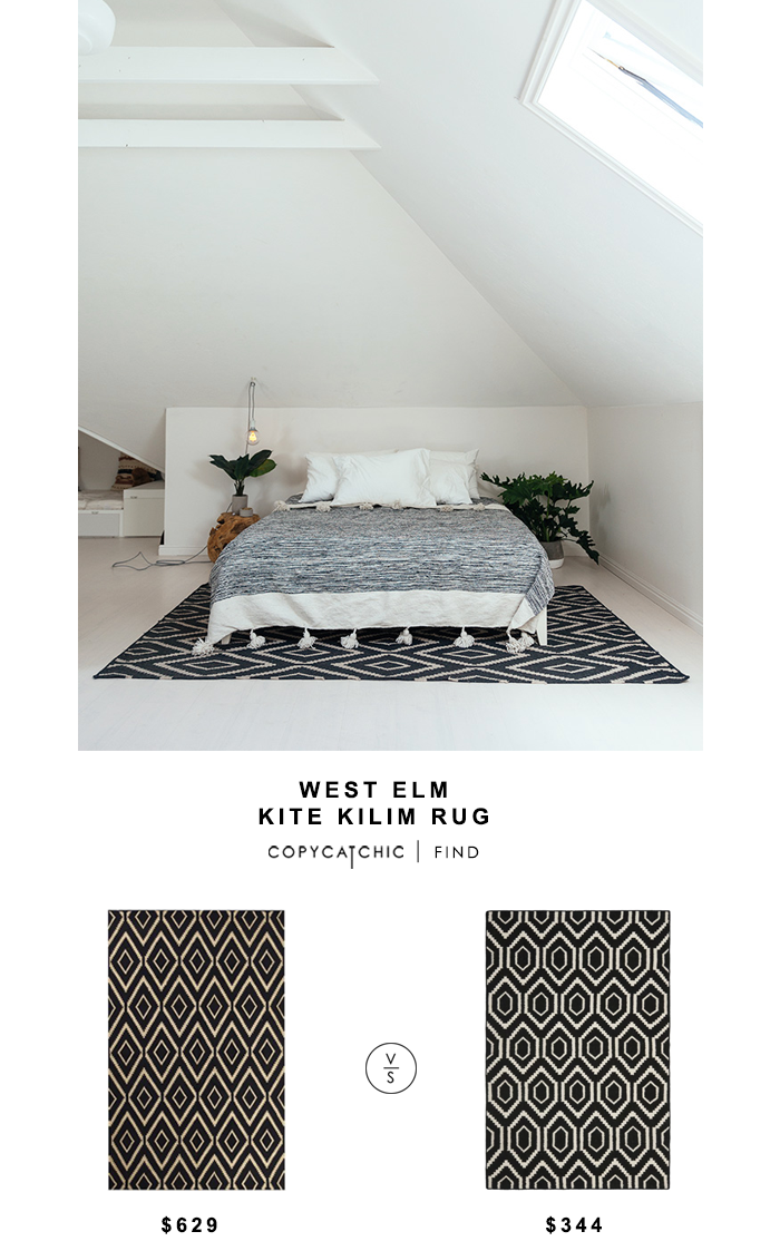 West Elm Kite Kilim Rug for $629 vs Safavieh Dhurries Rug for $344 Copy Cat Chic luxe living for less budget home decor and design look for less