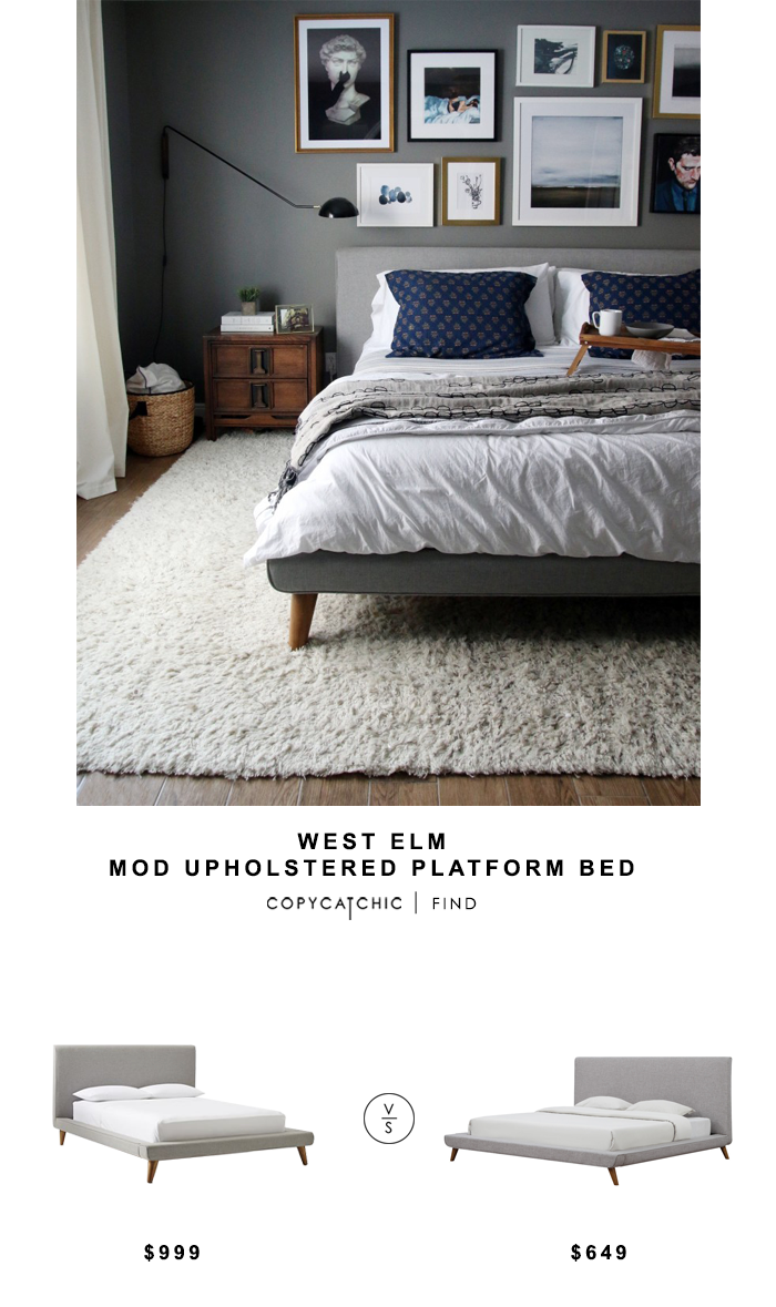 West Elm Mod Upholstered Platform Bed for $999 vs Tov Furniture Nixon Linen Bed for $649 Copy Cat Chic luxe living for less budget home decor & design