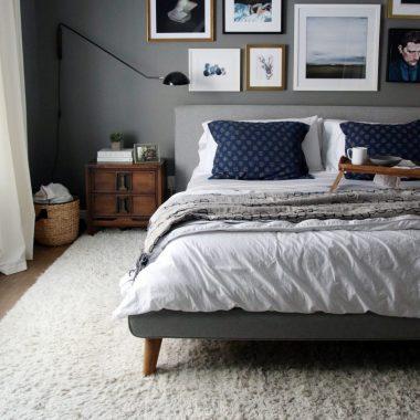 West Elm Mod Upholstered Platform Bed for $999 vs Tov Furniture Nixon Linen Bed for $649 Copy Cat Chic luxe living for less budget home decor & design