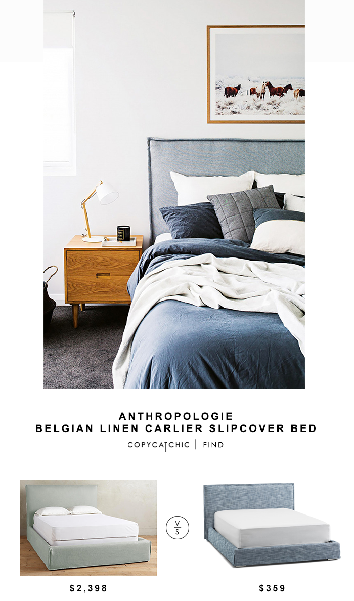 Anthropologie Belgian Linen Carlier Slipcover Bed for $2398 vs Structube Clancy Bed for $359 Copy Cat Chic luxe living for less budget home decor and design