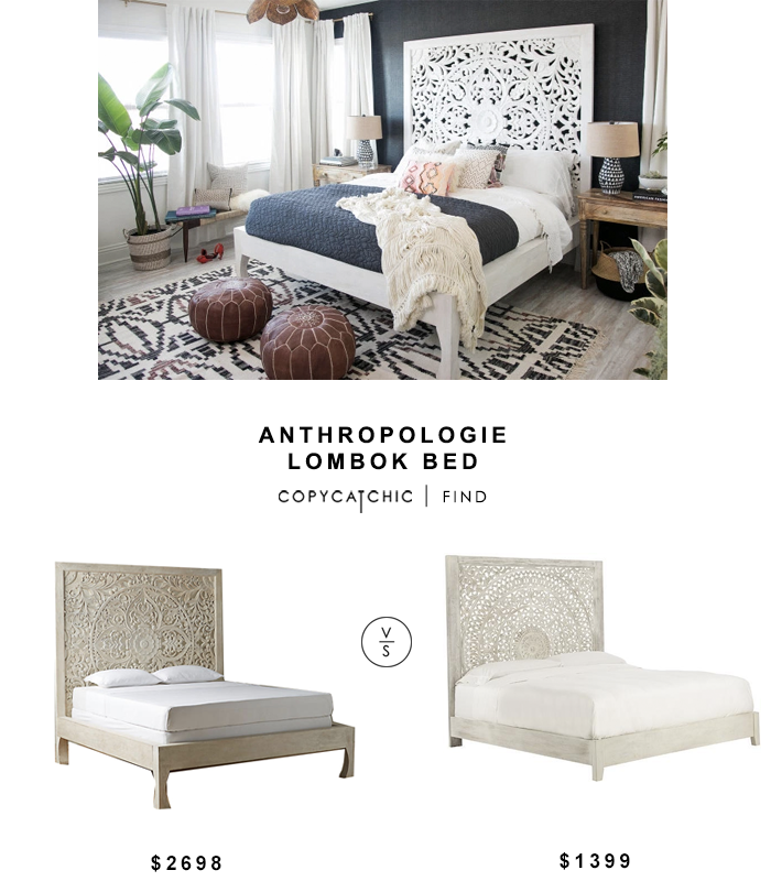 Anthropologie Lombok Bed for $2698 vs Chennai Bed for $1399 copycatchic luxe living for less budget home decor and design look for less