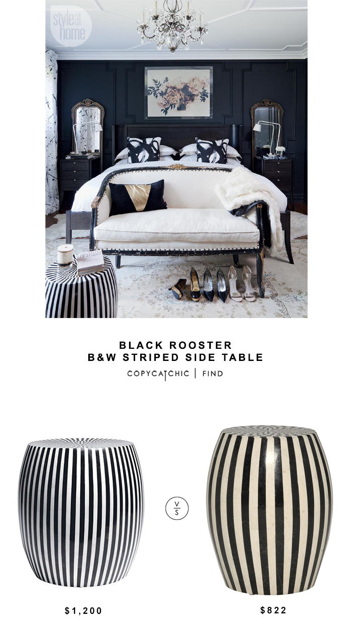 Black Rooster Black and White Striped Side Table for $1200 vs Janus Et Cie Inlaid Side Table for $822 copycatchic luxe living for less budget home decor
