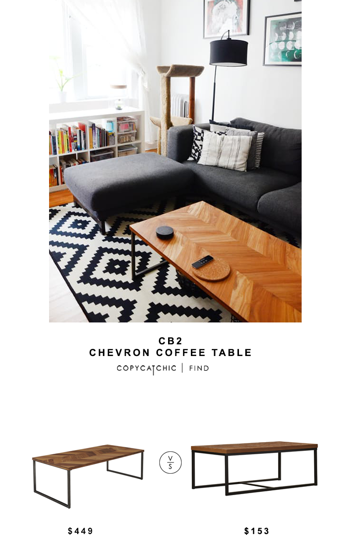 CB2 Chevron Coffee Table for $449 vs Simple Living Emmerson Coffee Table $153 Copy Cat Chic luxe living for less budget home decor & design look for less