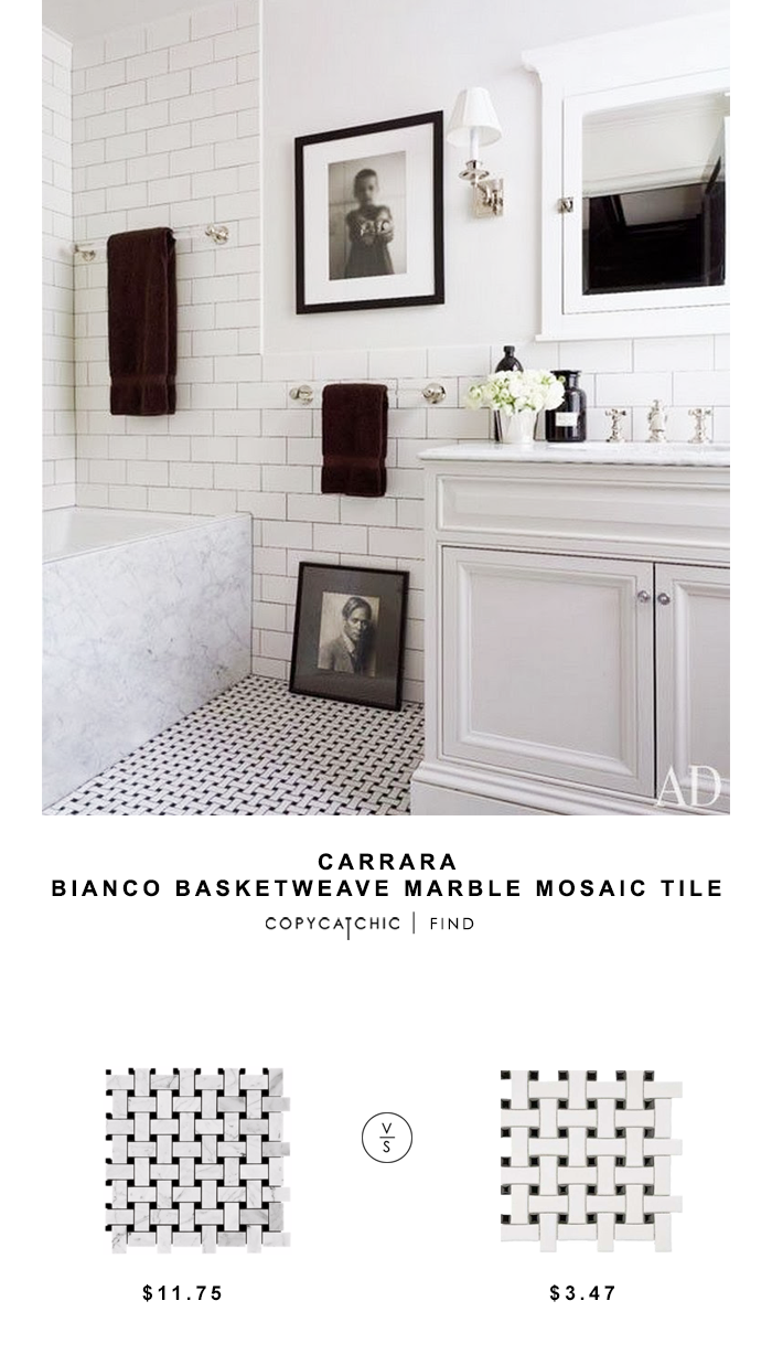 Carrara Bianco Basketweave Marble Mosaic Tile for $11.75 vs Roca CC Mosaics Basketweave Glazed Mosaic for $3.47 copycatchic luxe living for less budget home