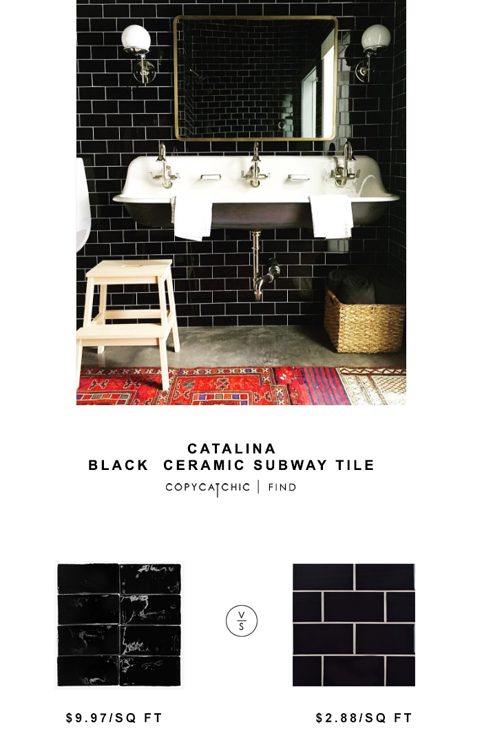 Catalina Black Ceramic Subway Tile for $9.97 sq ft vs Prospect Ceramic Subway Tile for $2.88 sq ft copycatchic luxe living for less budget home decor design