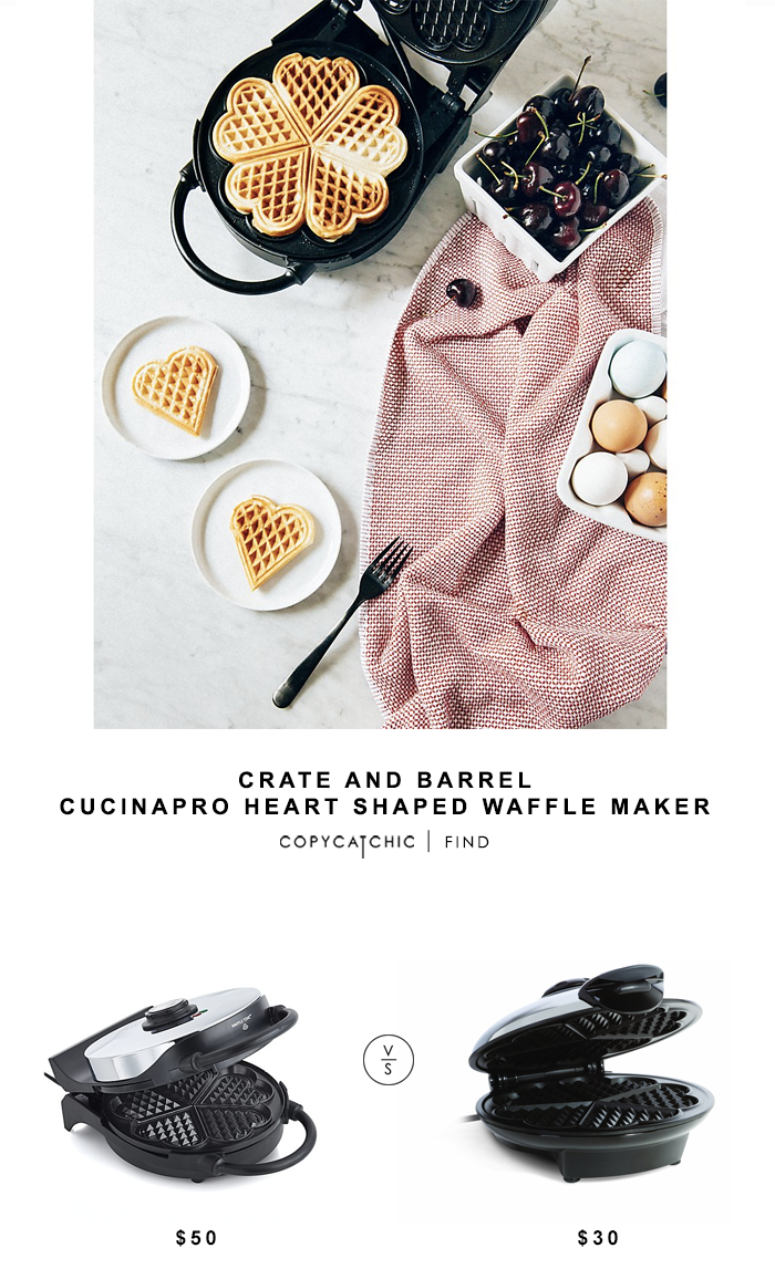 Crate and Barrel CucinaPro Heart Shaped Waffle Maker for $50 vs Euro Cuisine Eco Friendly Heart Shaped Waffle Maker for $30 copycatchic luxe living for less