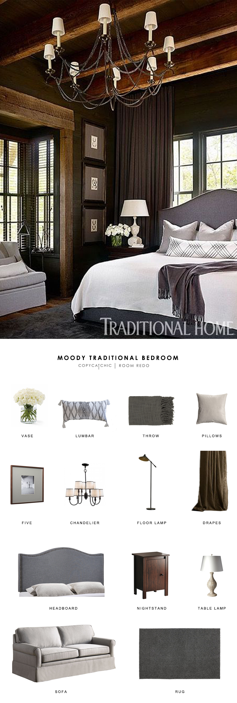 A black moody master bedroom featuring in Traditional Home Magazine gets recreated for less by copycatchic luxe living for less budget home decor & design