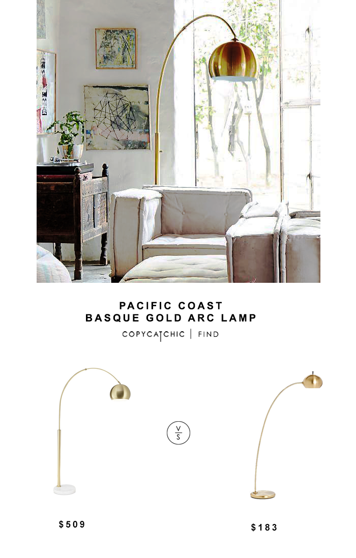 Pacific Coast BAsque Gold Arch Lamp for $509 vs West Elm Petite Arc Metal Floor Lamp for $183 copycatchic luxe living for less budget home decor and design